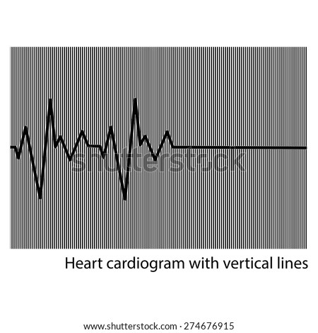 illustration vector black heart cardiogram on the background of vertical lines - stock vector