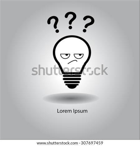 illustration vector bulb with curious face and three question mark, creative design. - stock vector