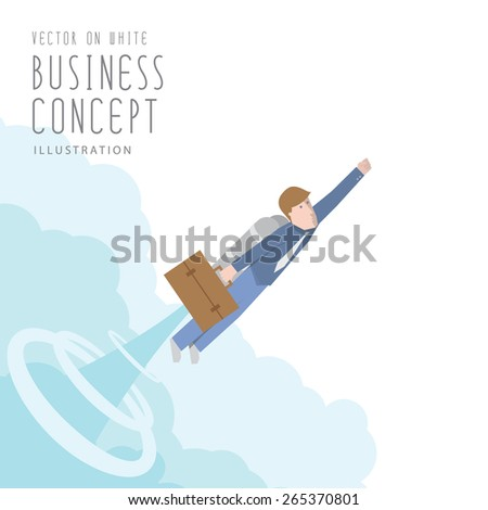 Illustration vector businessman with a rocket flat style. growth and start up concept. - stock vector