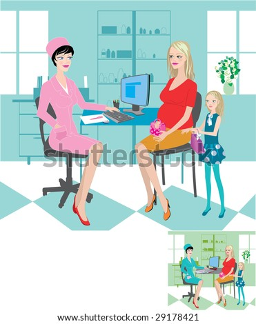 Illustration, vector. Children's clinic - stock vector