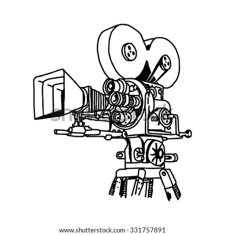 illustration vector doodle hand drawn of movie projector. - stock vector