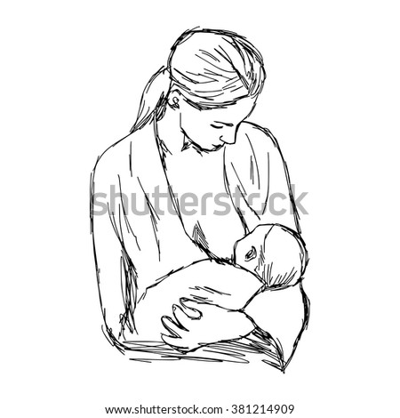 illustration vector doodle hand drawn of sketch baby feeds on MOM's breasts, Breastfeeding baby - stock vector
