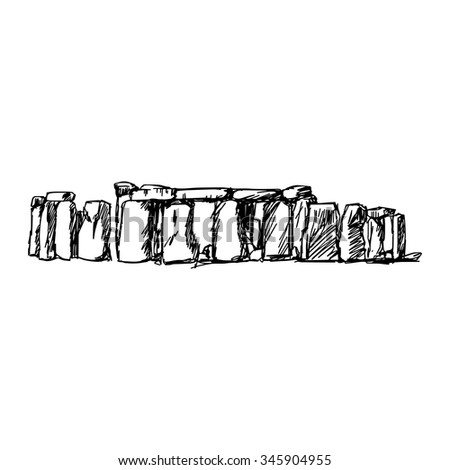 illustration vector doodle hand drawn of sketch stonehenge isolated - stock vector