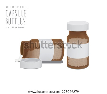 Illustration vector drug capsules in brown glass bottle. - stock vector