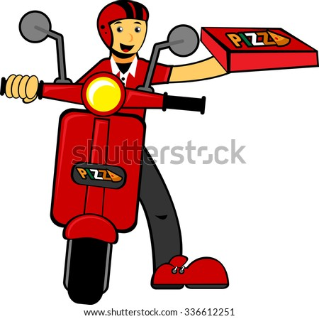 Illustration vector graphic cartoon character of delivery man bring pizza - stock vector