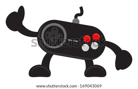 illustration vector graphic cartoon character of video game joystick