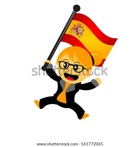 illustration vector graphic of cartoon woman / girl bring a country flag