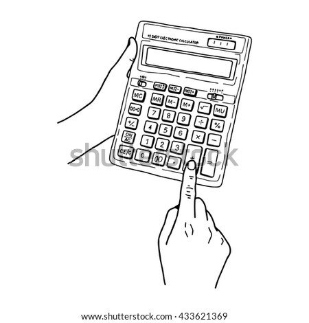 illustration vector hand draw doodles of calculator with hand isolated on white background - stock vector