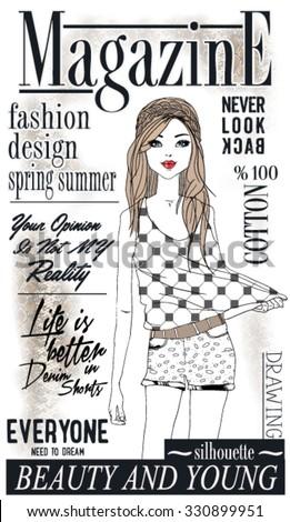 illustration vector handmade drawing fashion and cute magazine girl - stock vector