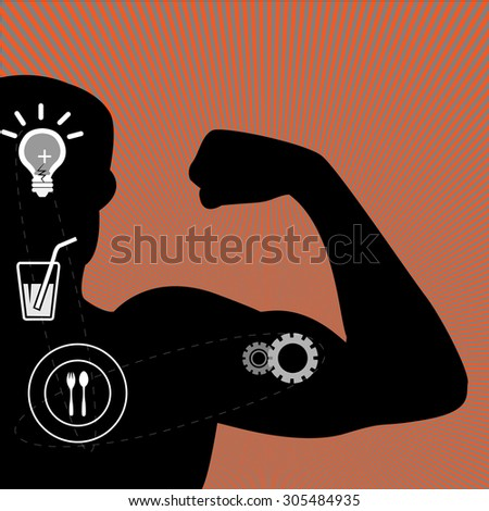 Illustration - vector illustration of muscle man and health icons - stock vector