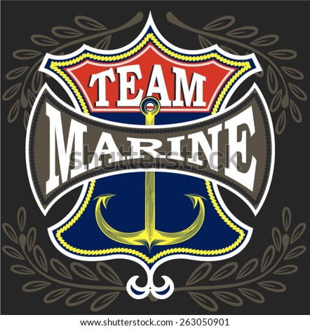 Illustration vector marine patch - stock vector