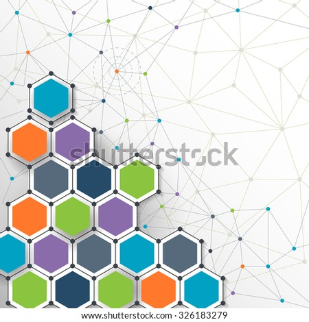 Illustration Vector - Molecules and Hexagonal shape. Abstract futuristic with Light gray background. Digital technology concept. Blank space for your design and content, business, network, web design - stock vector