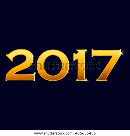 Illustration vector number 2017 new year shine gold yellow color with sparkles isolated on dark blue background, vector eps 10