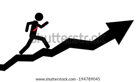 Illustration (vector) of a person that is running on a arrow. - stock vector