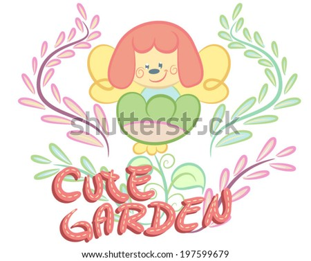Illustration vector of cute fairy with flowers. - stock vector