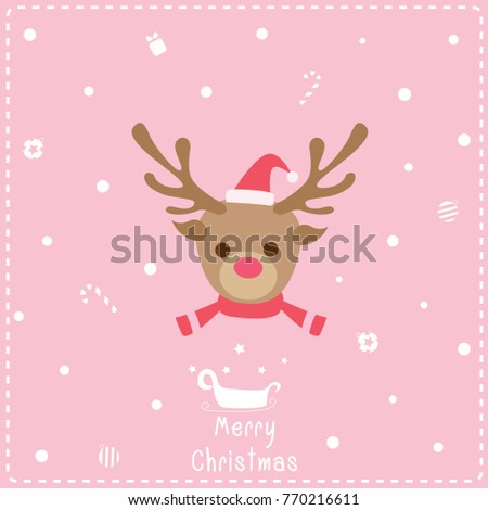Illustration Vector Of Cute Reindeer Face Decorated On Snow Pink Background For Merry Christmas Festival