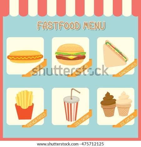 Illustration vector of fastfood menu of cafe shop on pastel background colors.