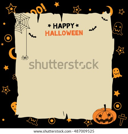 Illustration Vector Of Happy Halloween Background Party Template With  Pumpkin.