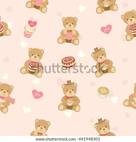 Illustration vector of lover bear with cakes and coffee decoration into seamless pattern background.Pastel color for bakery cafe  shop. - stock vector