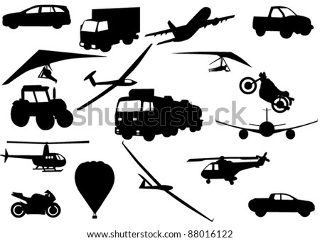 Illustration vector of vehicle silhouettes over white background