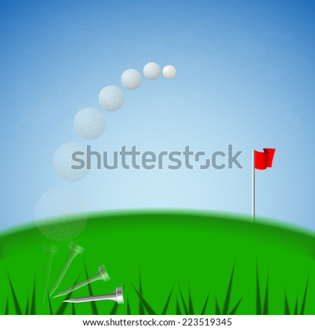 Illustration vector of white golf ball that it is moving from tee to red fold flag target on green court and blue sky background (EPS10 separate part by part) - stock vector