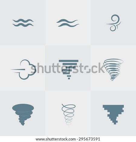 Illustration vector of wind icon set - stock vector