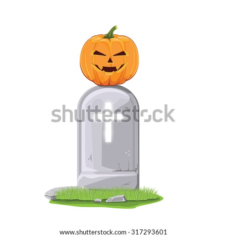 illustration,vector. pumpkin on grave for Halloween - stock vector