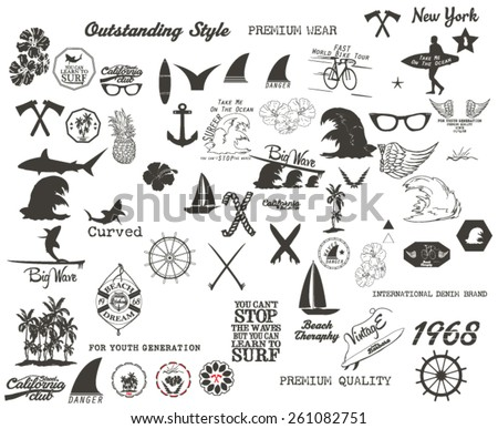 illustration vector set.vintage surfer set.surf label set - stock vector