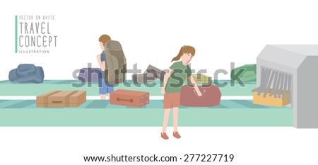 Illustration vector two backpackers get luggage from the baggage carousel flat style. - stock vector