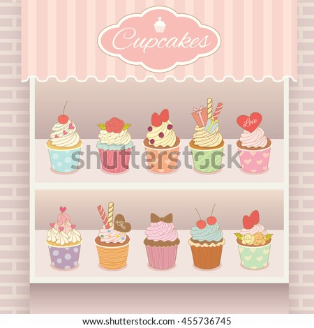 Illustration vector various cupcakes menu display on shelf in showcase of pink cafe shop.