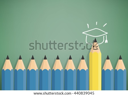 Illustration vector yellow pencil stand out from the blue pencil with success and graduation. Symbols with graduate cap top. - stock vector