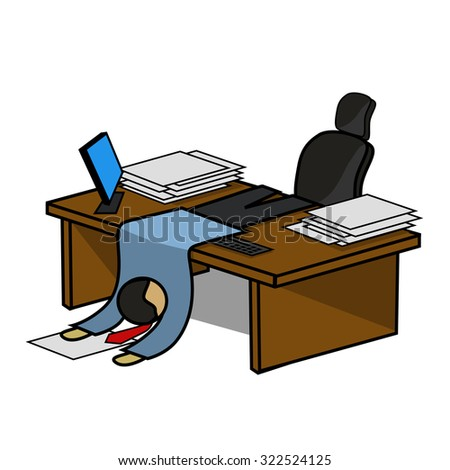 Illustration very of a tired office manager - stock vector