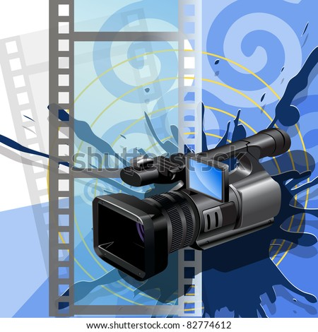 Illustration, video camera  on background of the film - stock vector