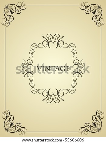 Illustration vintage background card for design - vector - stock vector