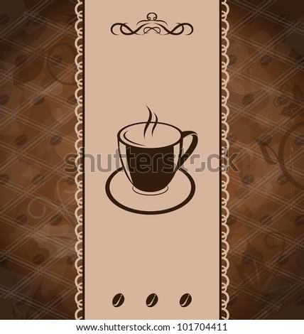 Illustration vintage background for coffee menu, coffee bean texture - vector - stock vector