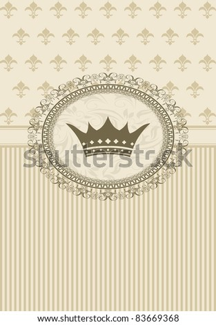 Illustration vintage background with floral frame and crown - vector - stock vector