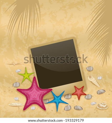 Illustration vintage background with photo frame, starfishes, pebble stones, seashells - vector