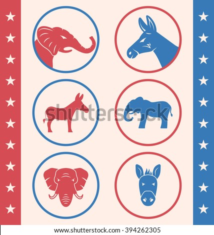 Illustration Vintage Style of Button for Vote or Voting Campaign Election. Collection Old Badge with Symbols of United States Political Parties - Vector - stock vector