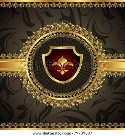 Illustration vintage with heraldic elements - vector - stock vector