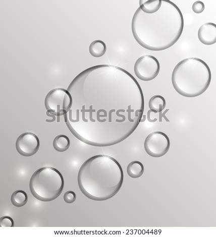 Illustration water abstract background with drops, place for your text - vector - stock vector