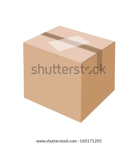 Illustration White Label on Sealed Cardboard Box Isolated on White Background, Ready for Shipping.  - stock vector