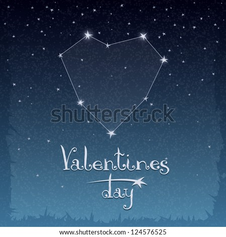 Illustration with a constellation of love for Valentine's Day - stock vector