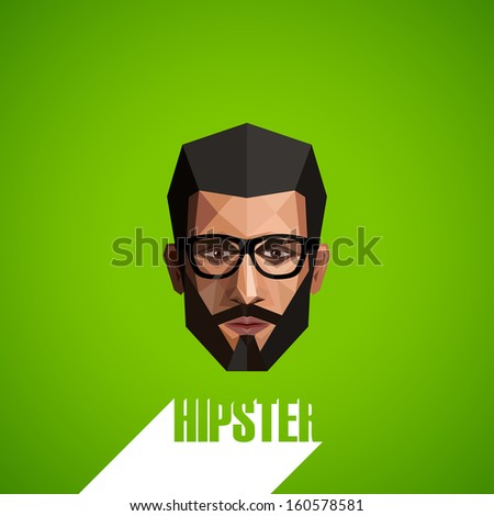 illustration with a male face in origami style. hipster  - stock vector