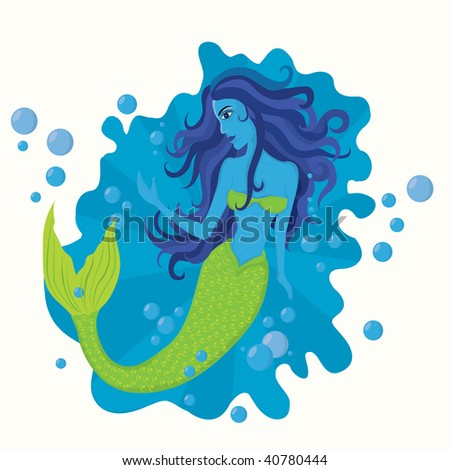 illustration with a mermaid - stock vector