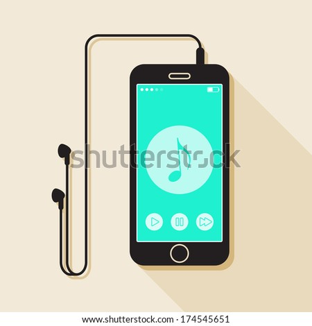 Illustration with a mobile phone. device in flat style with a musical player interface, headphones and a long shadow - stock vector