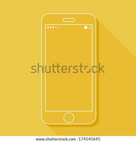Illustration with a mobile phone. Gadget in flat style with a long shadow - stock vector