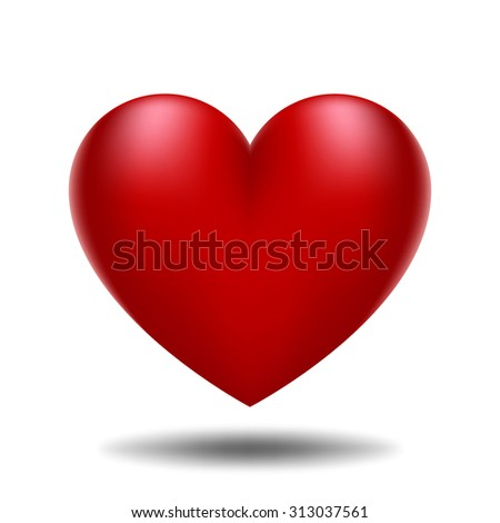 Illustration with a red valentine heart - stock vector