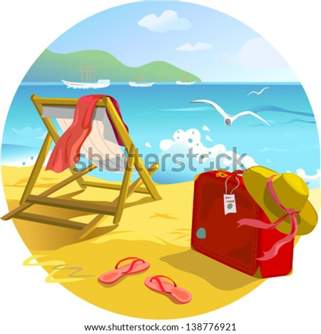 illustration with a suitcase, a hat, a sun lounger on the beach. Vector - stock vector