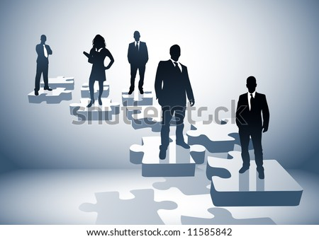 Illustration with a team on puzzle pieces. - stock vector