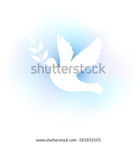 Illustration with a white silhouette of a dove on a blue background.